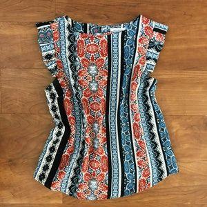 Monteau Boho Print Ruffle Sleeve Blouse